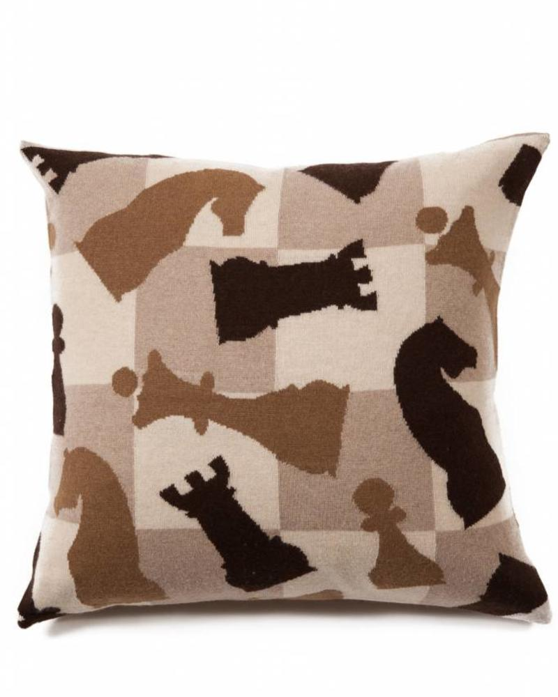 """CASHMERE BLEND KNITTED CHESS PILLOW: 21"""" X 21"""": CAMEL-TAUPE-CHOCOLATE"""