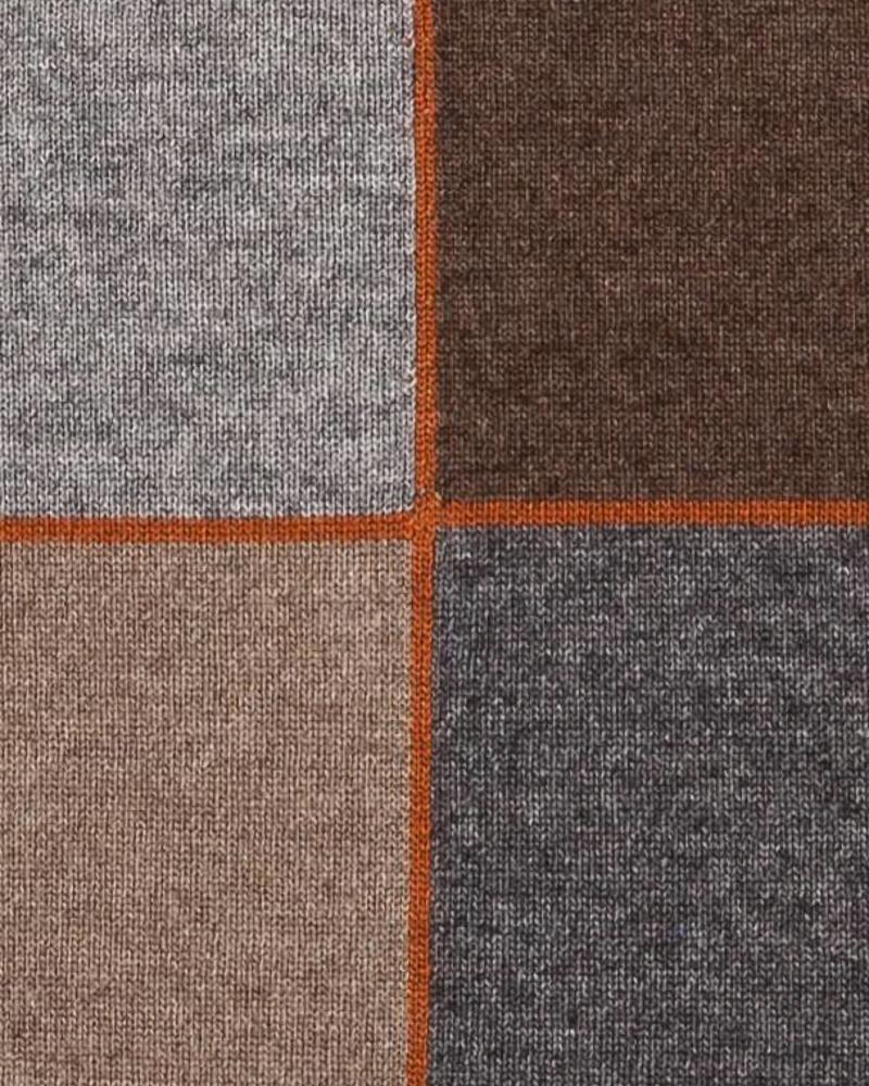 "CASHMERE BLEND 4 CHECKS PILLOW: 24"" X 24"": TAUPE-BROWN-ORANGE"