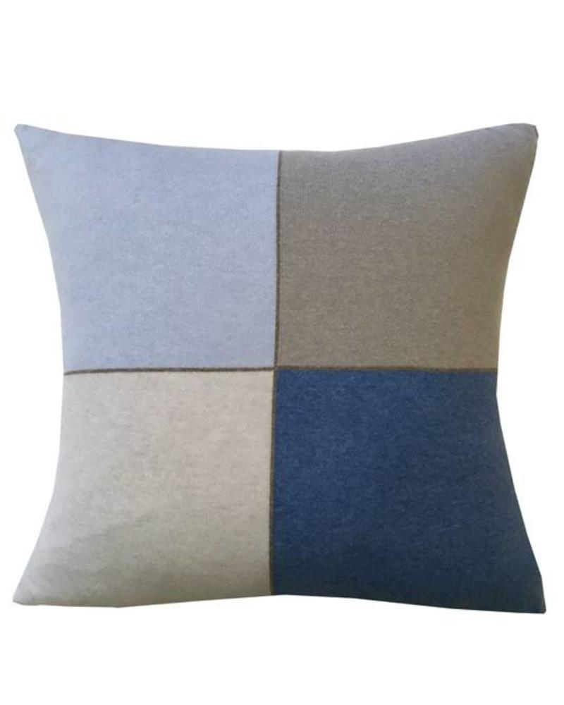 "CASHMERE BLEND 4 CHECKS PILLOW: 21"" X 21"": LIGHT BLUE"