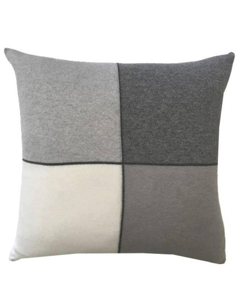 "CASHMERE BLEND 4 CHECKS PILLOW: 21"" X 21"": PEARL"