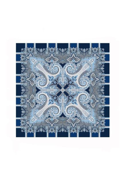 PRINTED CASHMERE SHAWL: BLUE