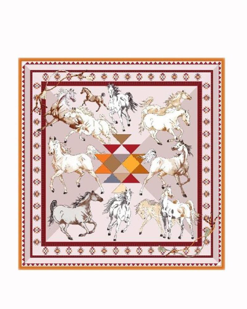 PRINTED CASHMERE SCARF: AZTEC HORSES: ORANGE
