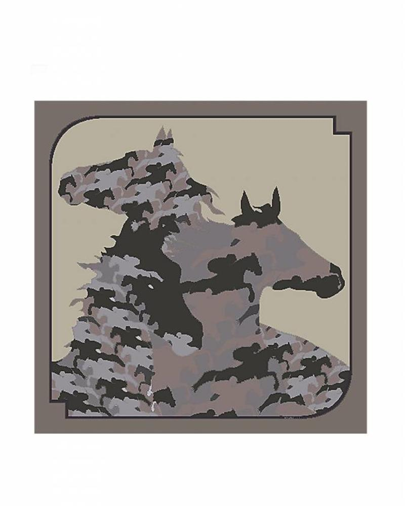 PRINTED CASHMERE SCARF: CAMOUFLAGE HORSES: GRAY