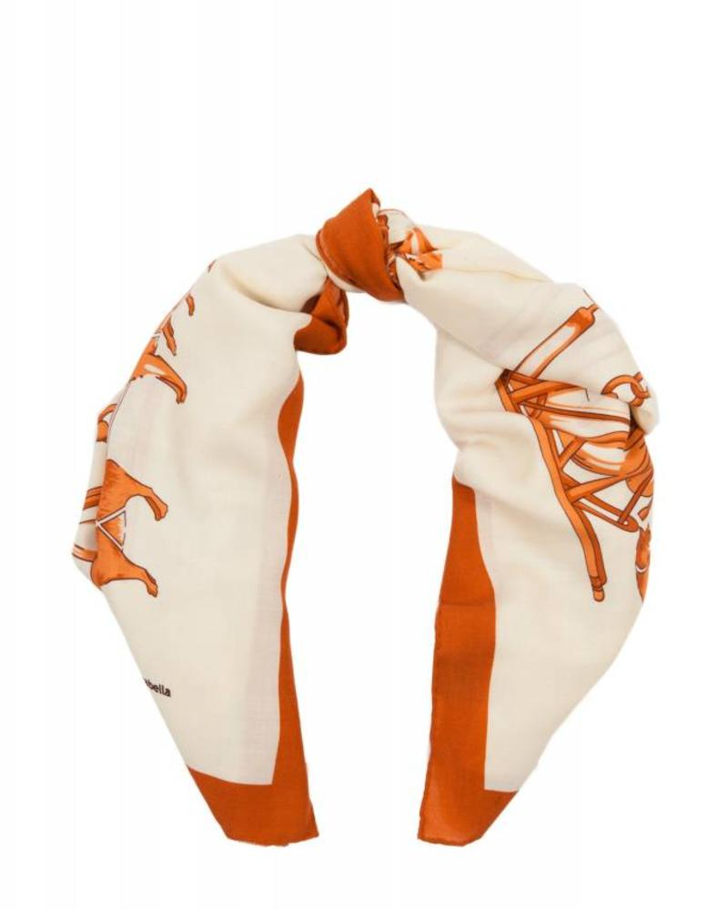 PRINTED CASHMERE SCARF: WOLF: ORANGE-IVORY