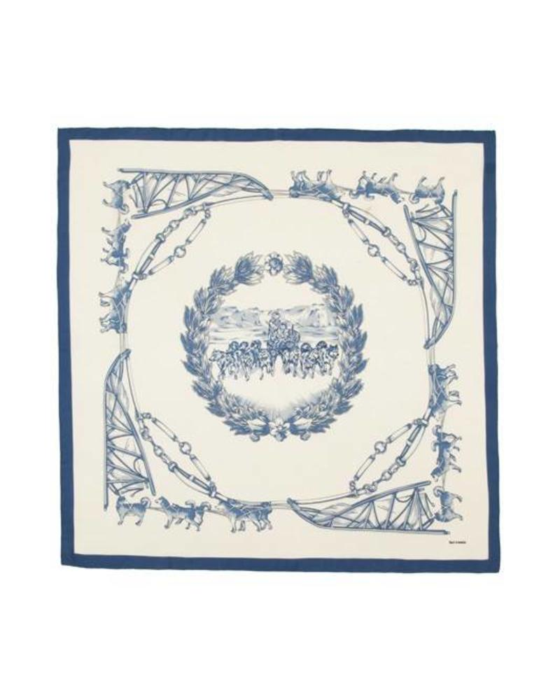PRINTED CASHMERE SCARF: WOLF: BLUE-IVORY