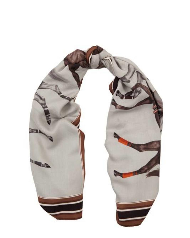 PRINTED CASHMERE SCARF: POLO: GRAY