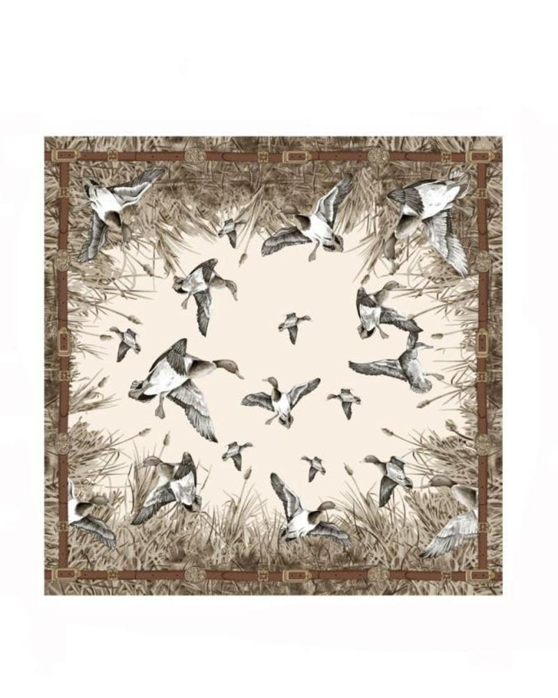 CASHMERE PRINTED SCARF: DUCK: TAUPE
