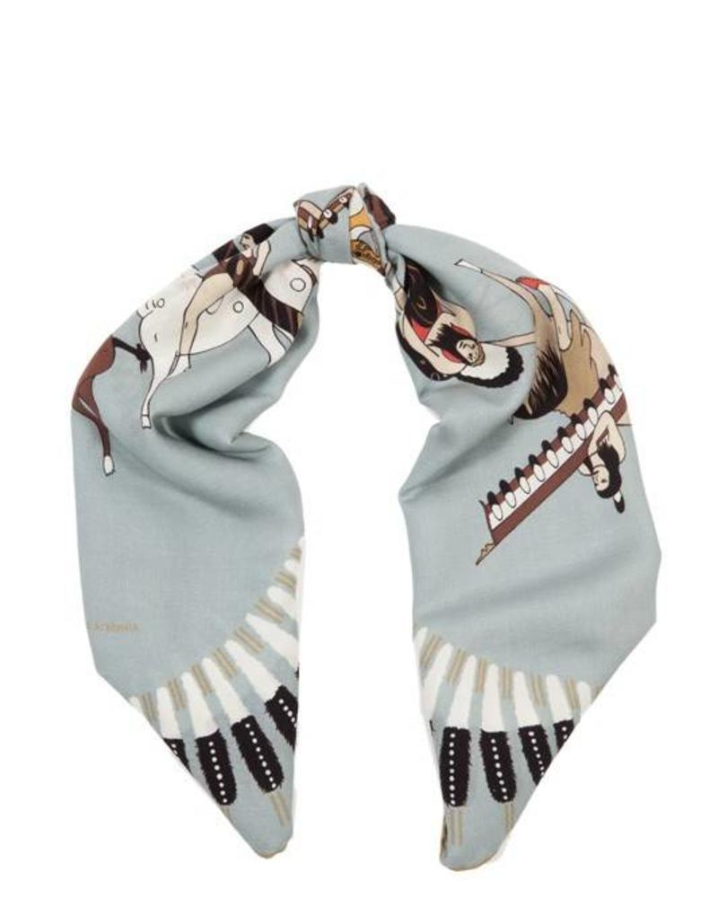 CASHMERE PRINTED SCARF: AMERICAN INDIAN: TEAL