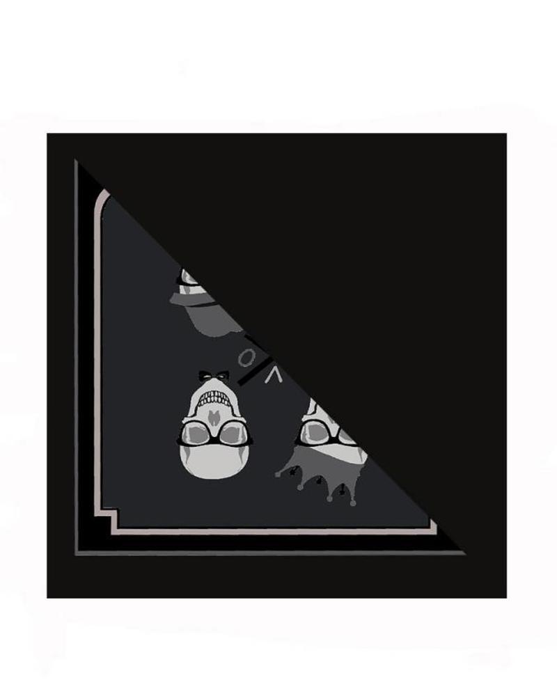 SKULL BLACK SILK PRINTED TRIANGLE - BLACK CASHMERE SCARF
