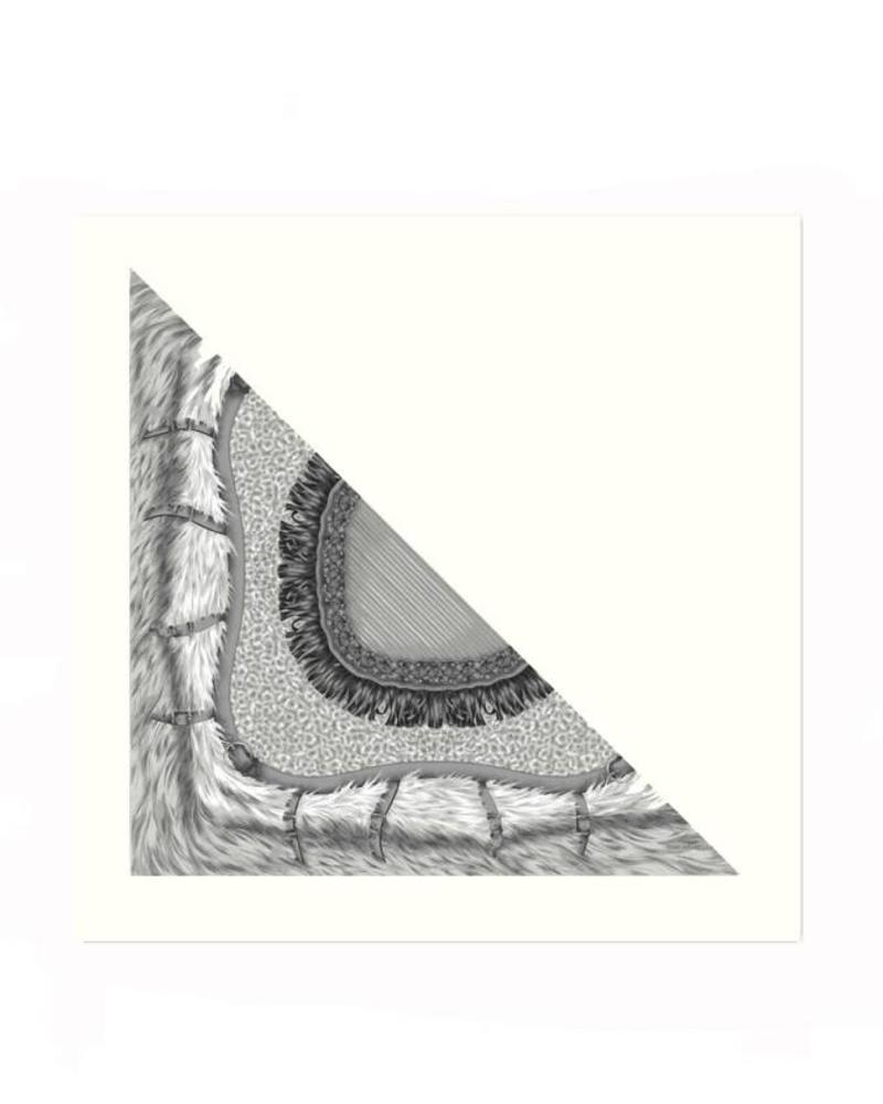 FEATHERS GRAY SILK PRINTED TRIANGLE - IVORY CASHMERE SCARF