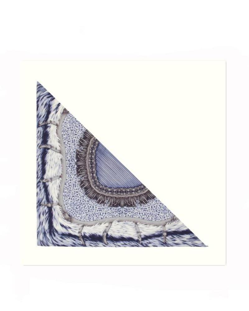 FEATHERS BLUE SILK PRINTED TRIANGLE - IVORY CASHMERE SCARF
