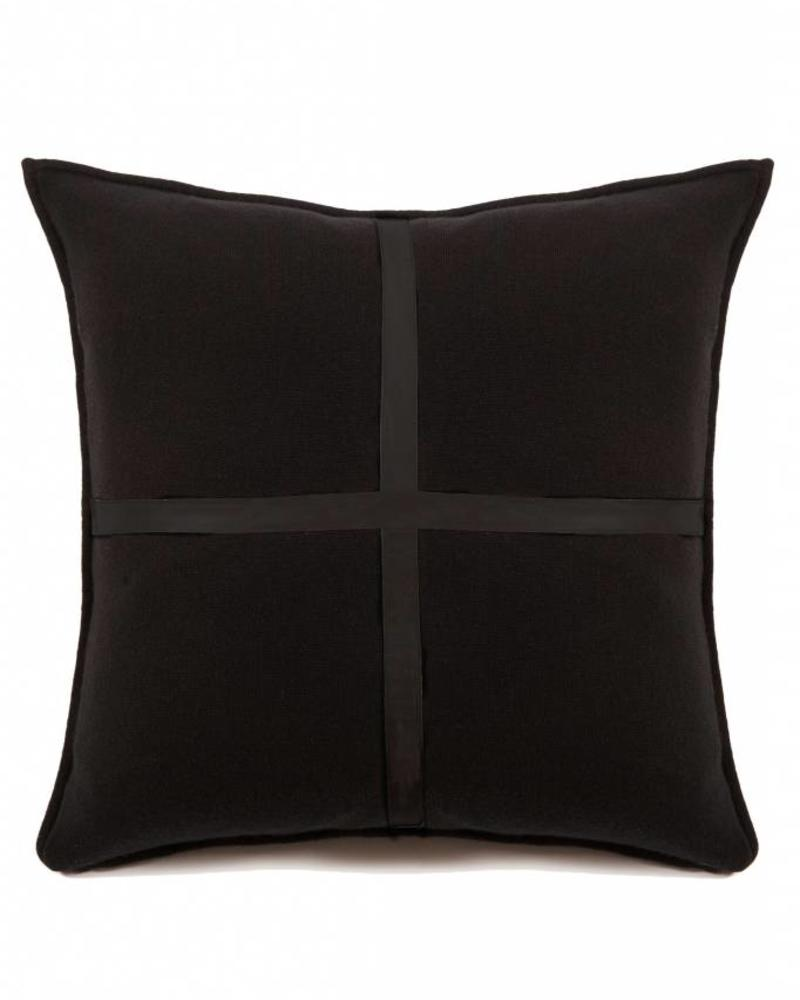 "SARDINIA CASHMERE LEATHER PILLOW: 21"" X 21"": NOIR"