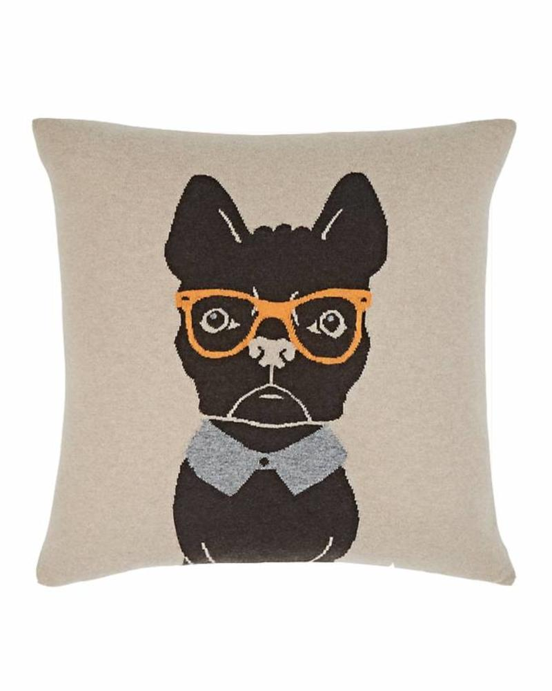 "CASHMERE BLEND DOG PILLOW: 21"" X 21"": SAND-ORANGE"