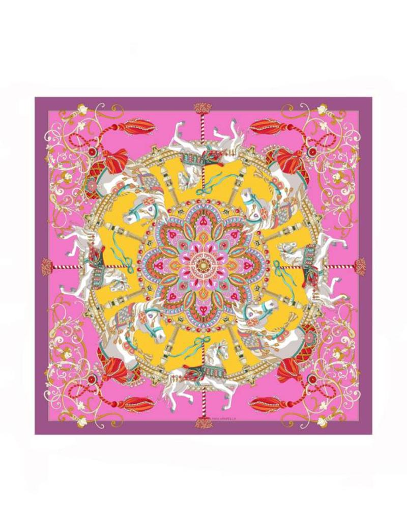 PRINTED CASHMERE SCARF: TOY HORSES: PINK