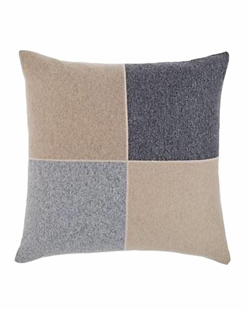 "CASHMERE BLEND 4 CHECKS PILLOW: 21"" X 21"": GRAY-SAND"
