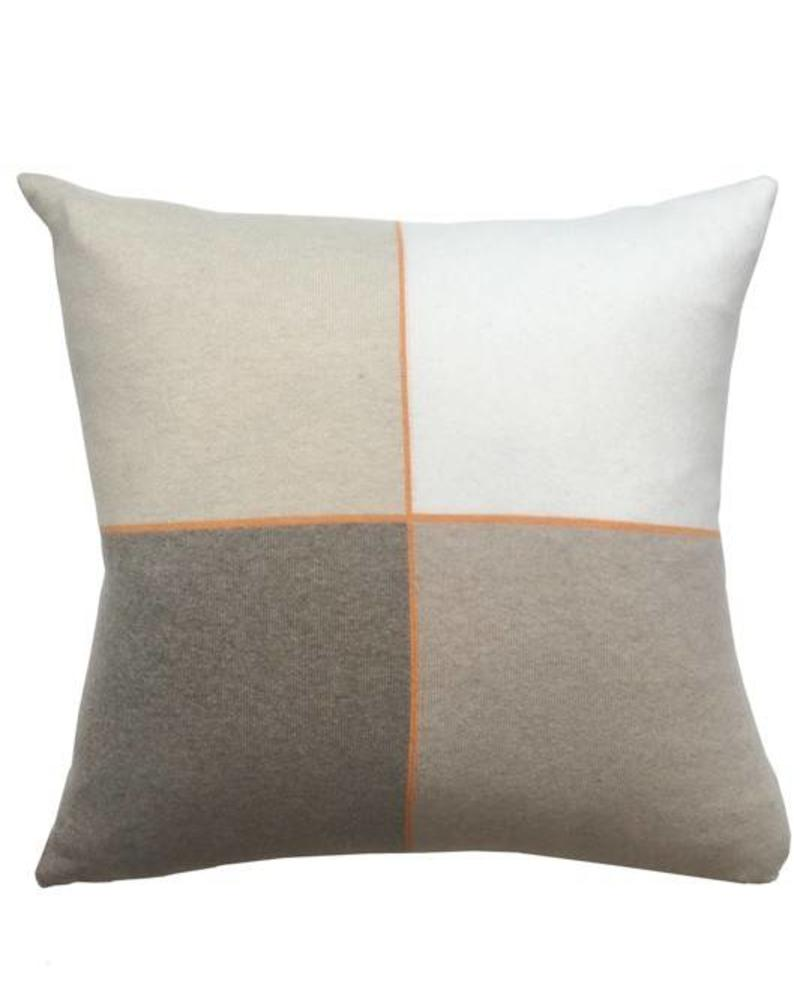 "CASHMERE BLEND 4 CHECKS PILLOW: 21"" X 21"": SAND"