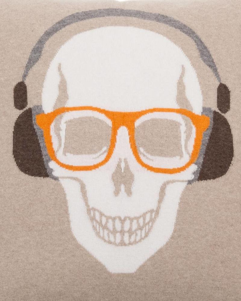 "SKULL HEADPHONES PILLOW: 21"" X 21"": SAND-ORANGE"