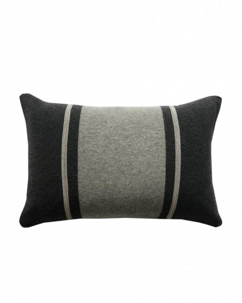 "RUBINO KNITTED TWO-TONE PILLOW W/ JEWEL DETAIL: 12"" X 18"": CHARCOAL-GRAY"