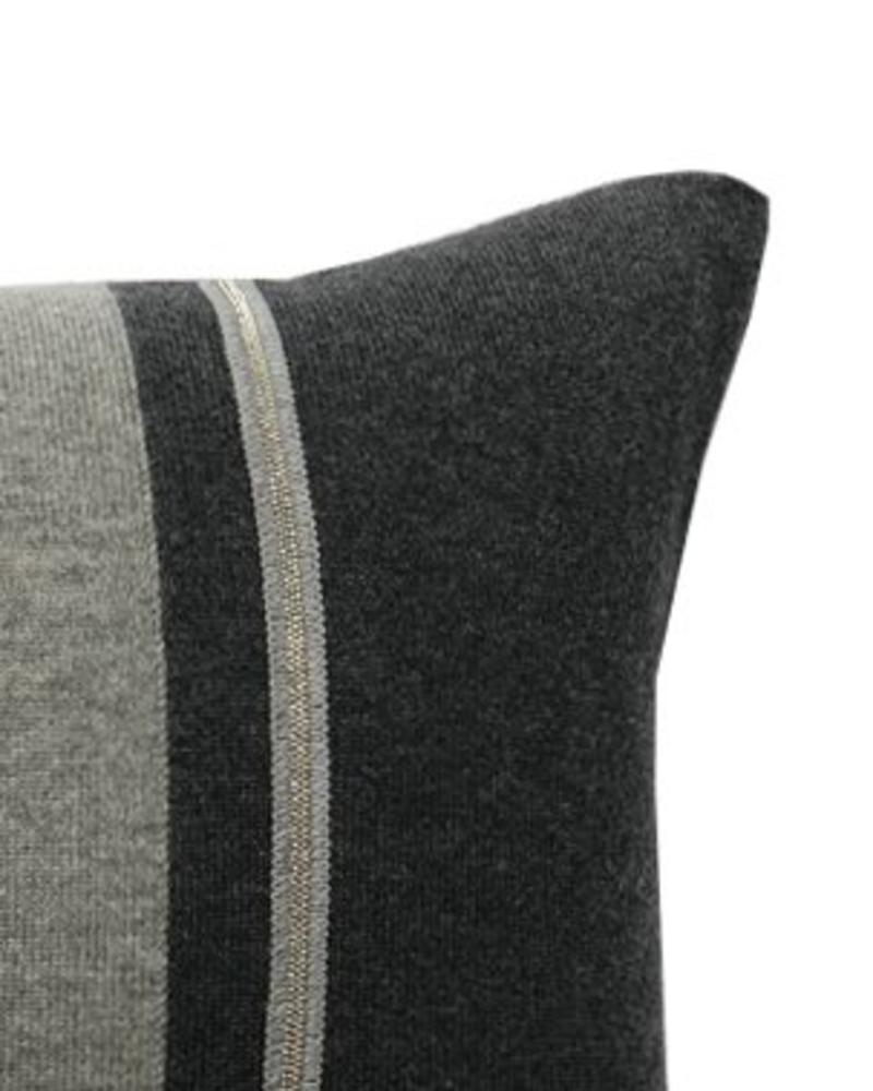 "RUBINO KNITTED TWO-TONE PILLOW W/ JEWEL DETAIL: 17"" X 17"": CHARCOAL-GRAY"