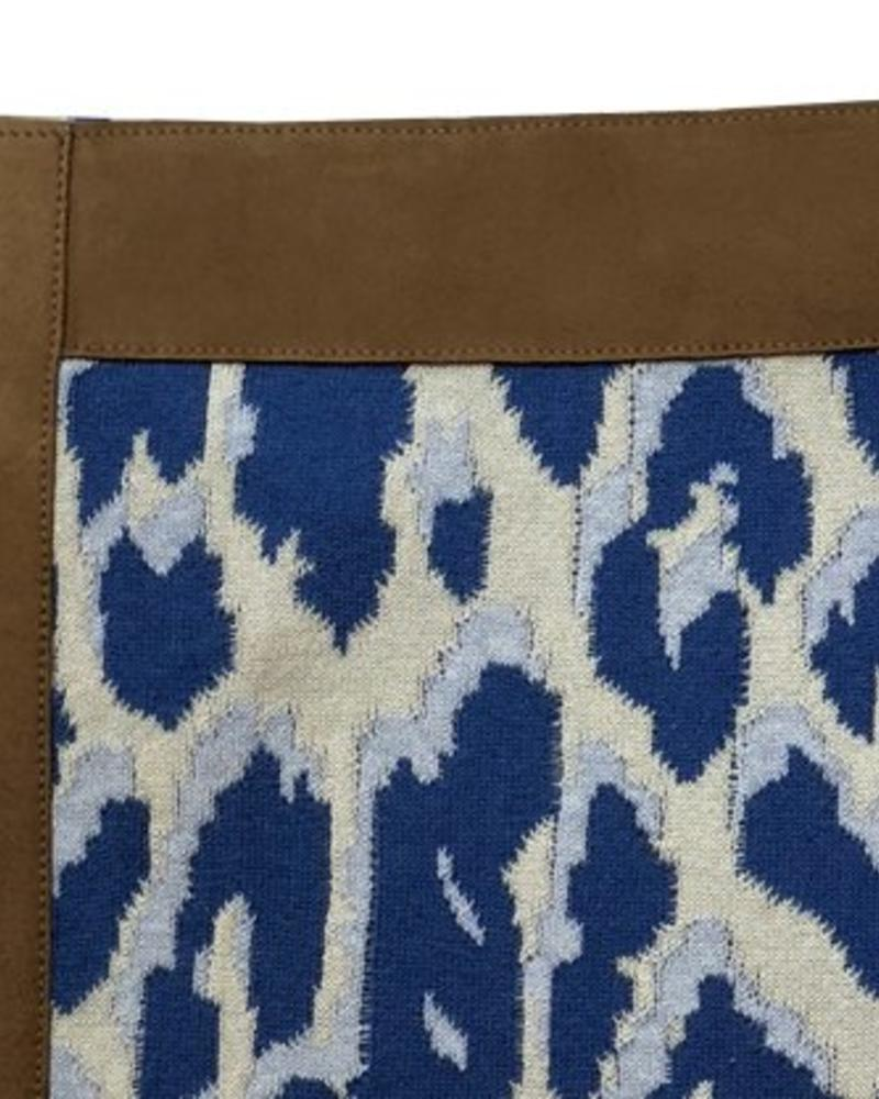 "COTTON KNITTED LEOPARD THROW WITH SUEDE BORDER: 52"" x 75"" :  BLUE"