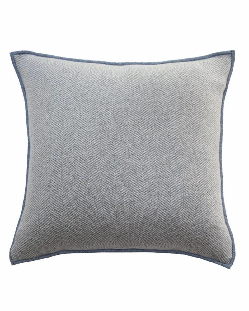 "HENRY CASHMERE HERRINGBONE PILLOW: 21"" X 21"": DENIM"