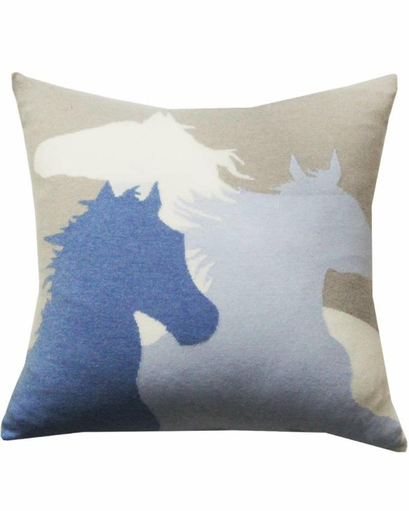 "HORSE PILLOW: 24"" X 24"":  LIGHT BLUE-AZURE-IVORY"