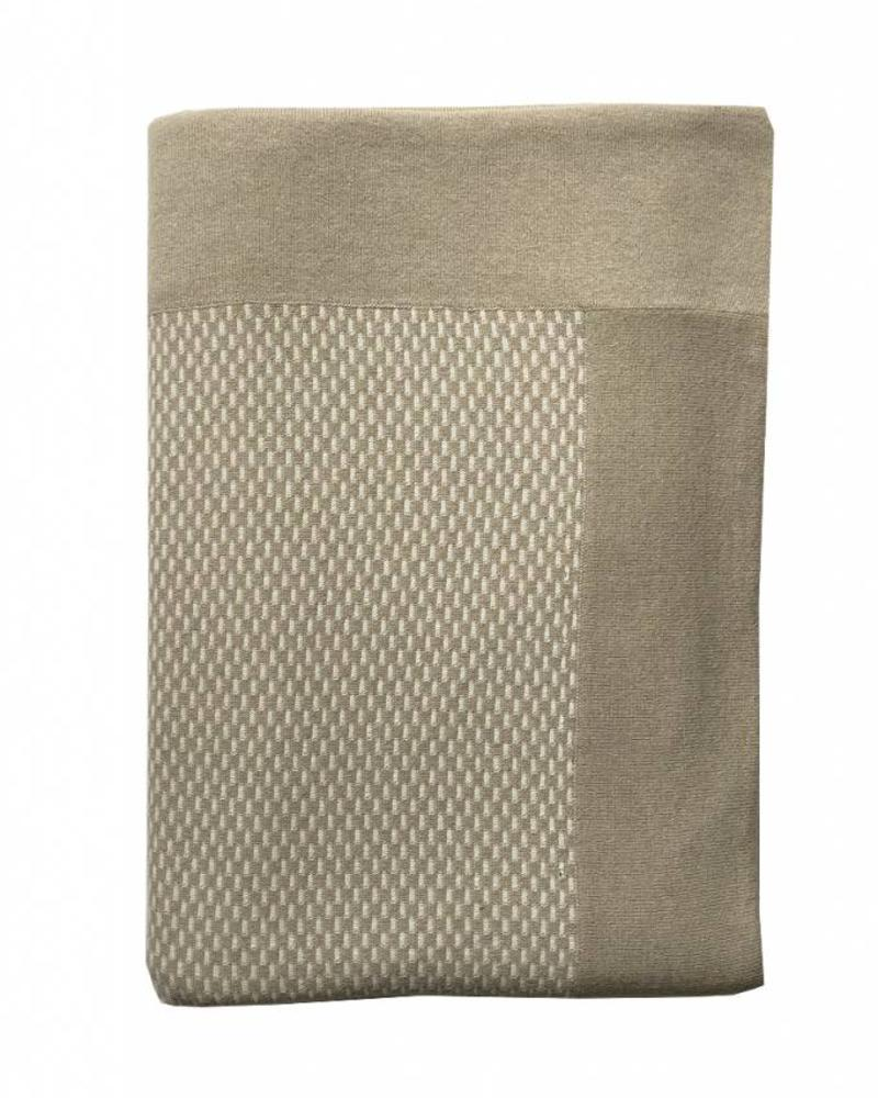 "CASHMERE BLEND INTRICATE KNIT THROW: 52"" X 75"": SAND-IVORY"