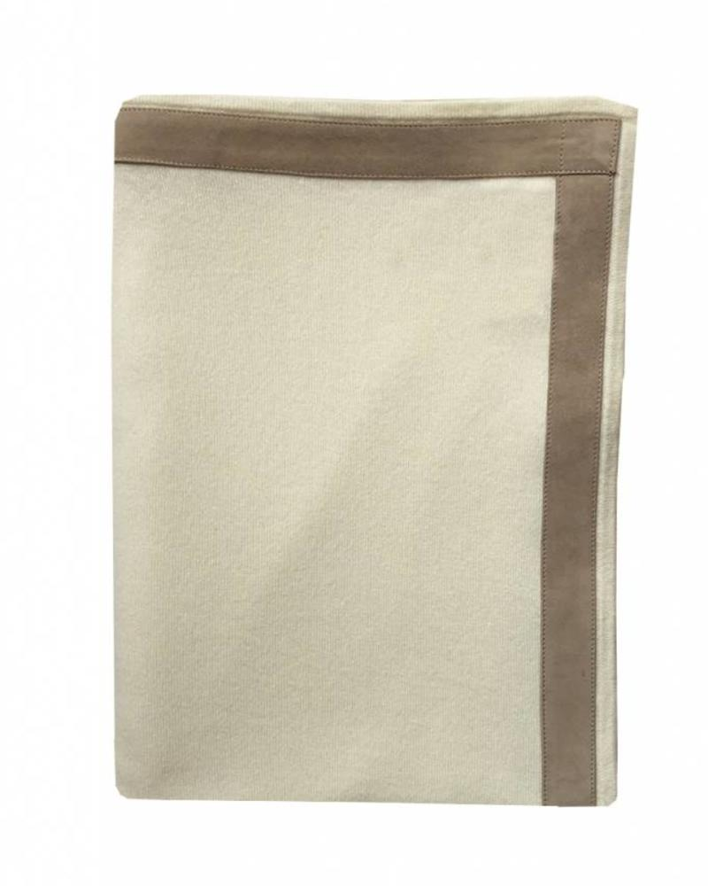 "PALERMO CASHMERE THROW WITH SUEDE BORDER: 50"" X 70"": IVORY"