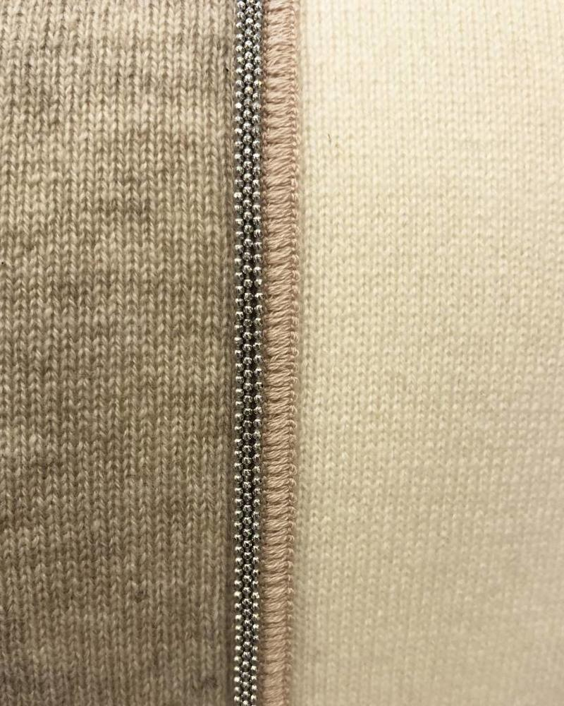 "RUBINO KNITTED TWO-TONE PILLOW W/ JEWEL DETAIL: 12"" X 18"": IVORY-BEIGE"
