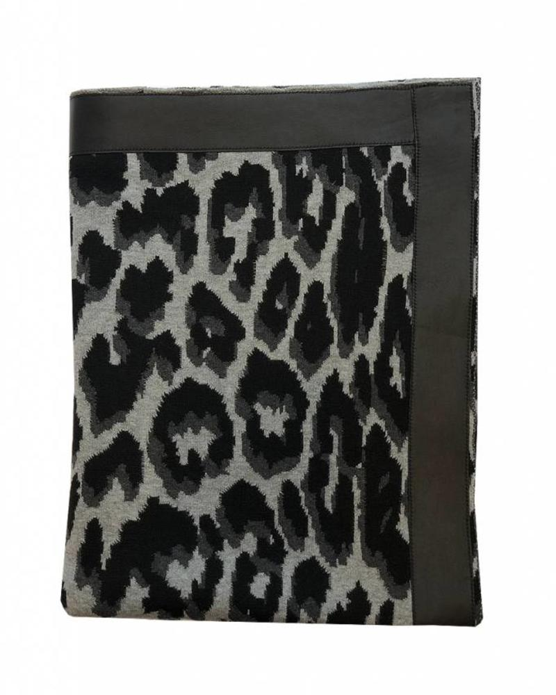 "COTTON KNITTED LEOPARD THROW WITH SUEDE BORDER: 52"" x 75"" :  BLACK"