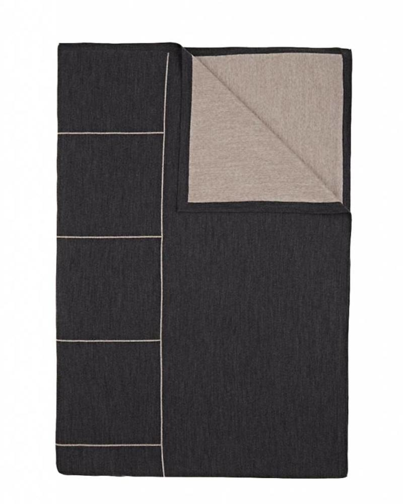 "CORTINA SQUARES THROW: 50"" X 72"": CHARCOAL - BEIGE"