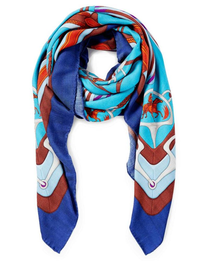 PRINTED CASHMERE SCARF: STIRRUPS: TURQUOISE