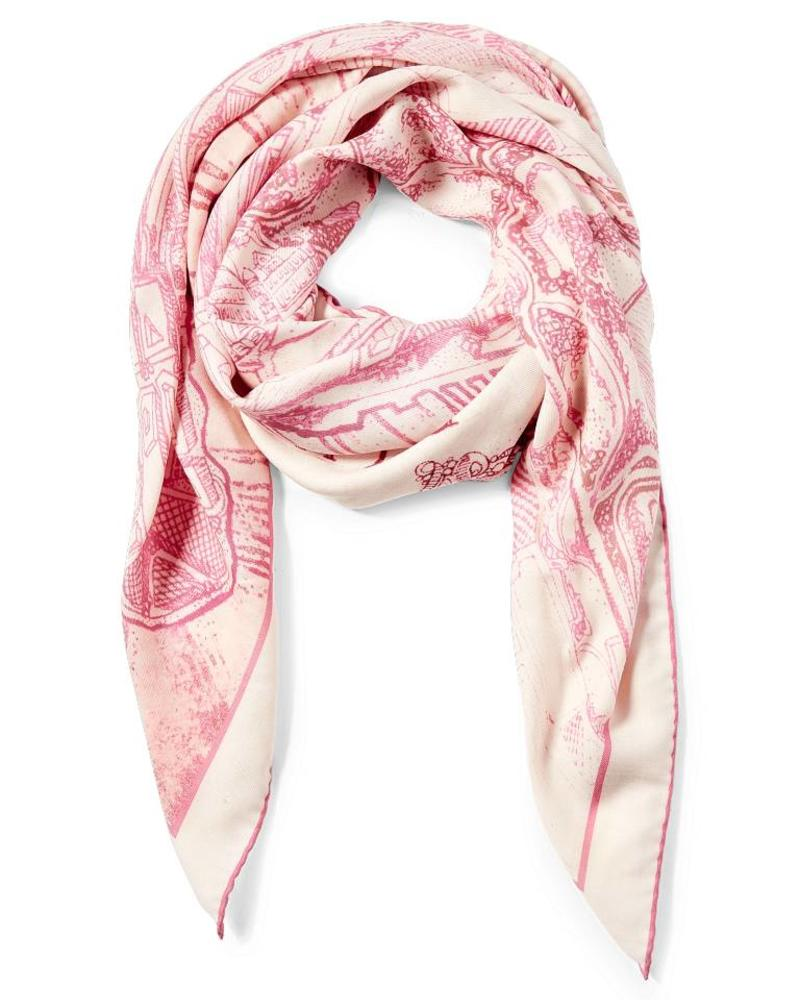 PRINTED CASHMERE SCARF: NEW YORK: PINK