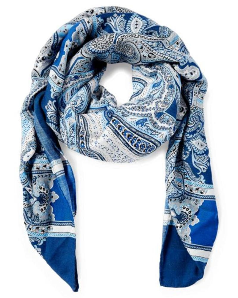 PRINTED CASHMERE SCARF: BLUE