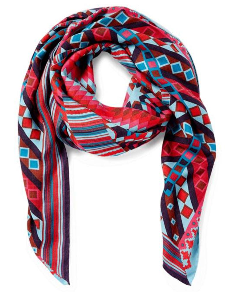 PRINTED CASHMERE SCARF: GEOMETRIC: RED