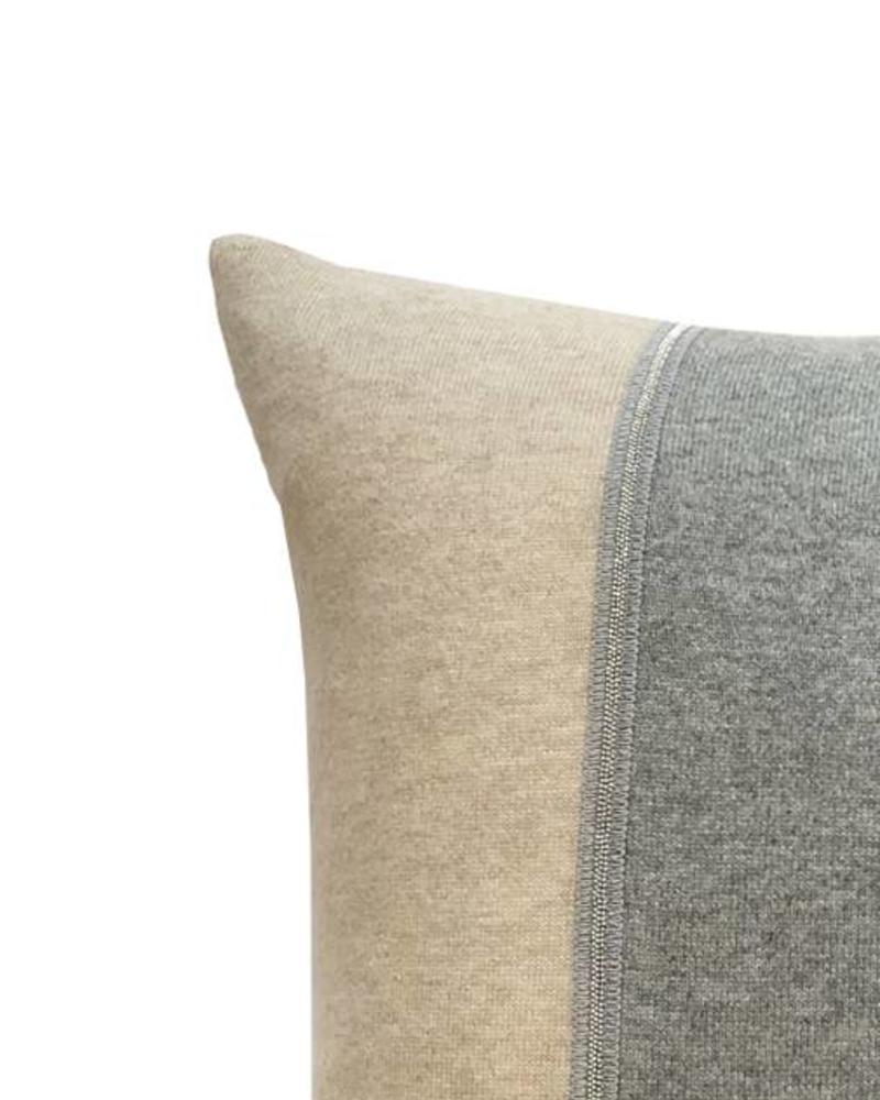 "RUBINO KNITTED TWO-TONE PILLOW W/ JEWEL DETAIL: 17"" X 17"": SAND-GRAY"