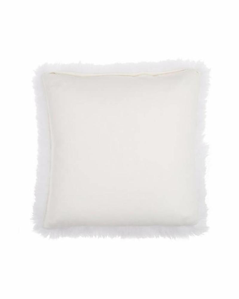 """CASHMERE PILLOW WITH FUR: 17"""" X 17"""": IVORY"""