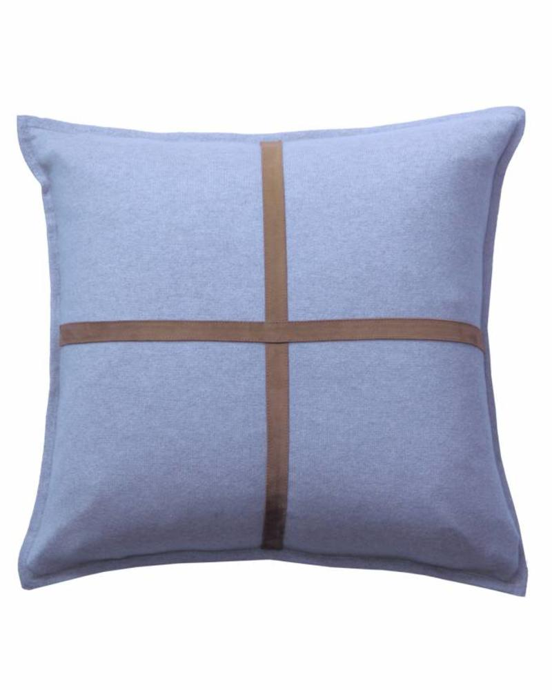 "PALERMO CASHMERE PILLOW WITH CROSS SUEDE: 21"" X 21"": INDIGO"