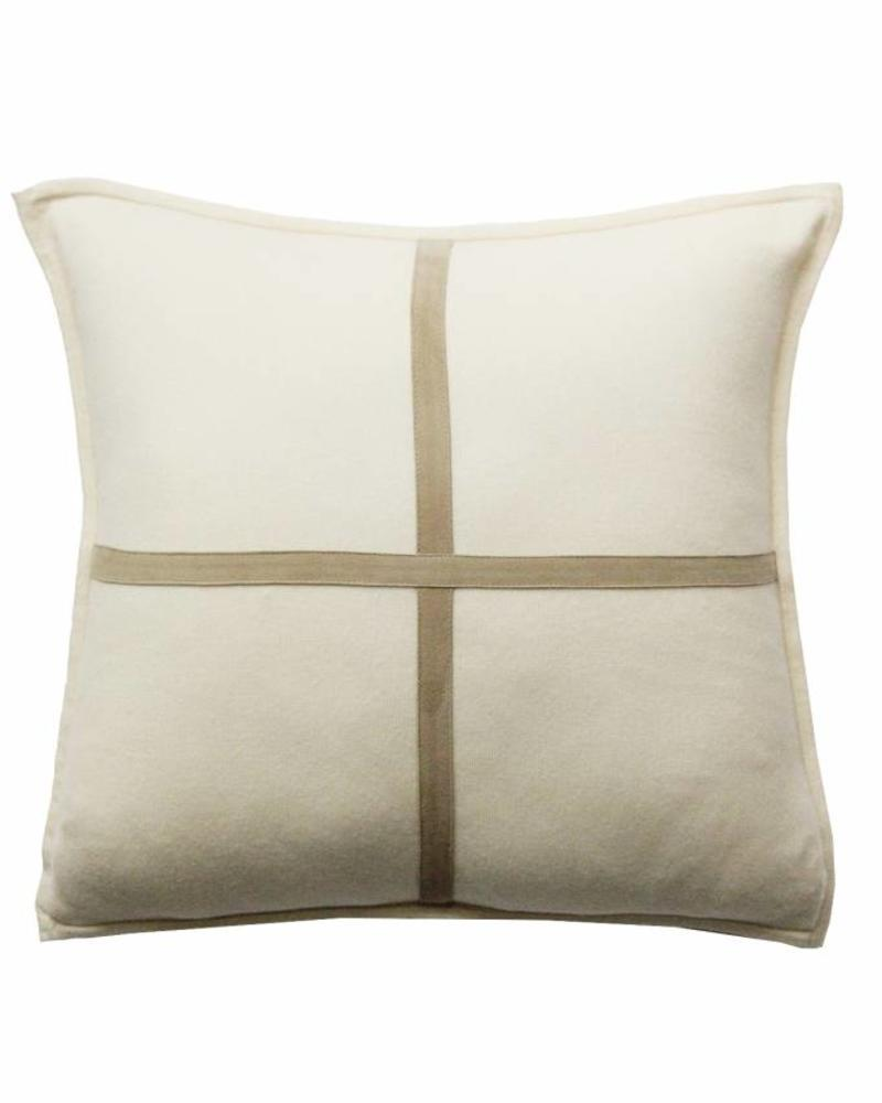 "PALERMO CASHMERE PILLOW WITH CROSS SUEDE: 21"" X 21"": IVORY"