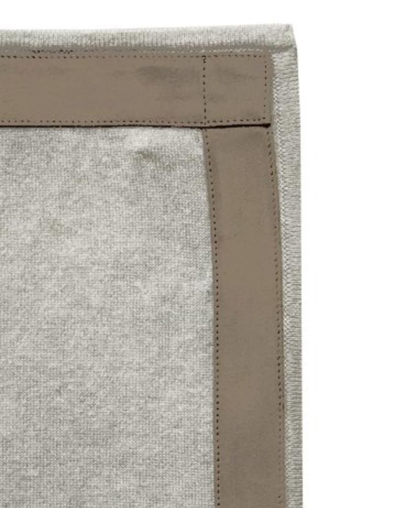 "PALERMO CASHMERE THROW WITH SUEDE BORDER: 50"" X 70"":  PEARL"