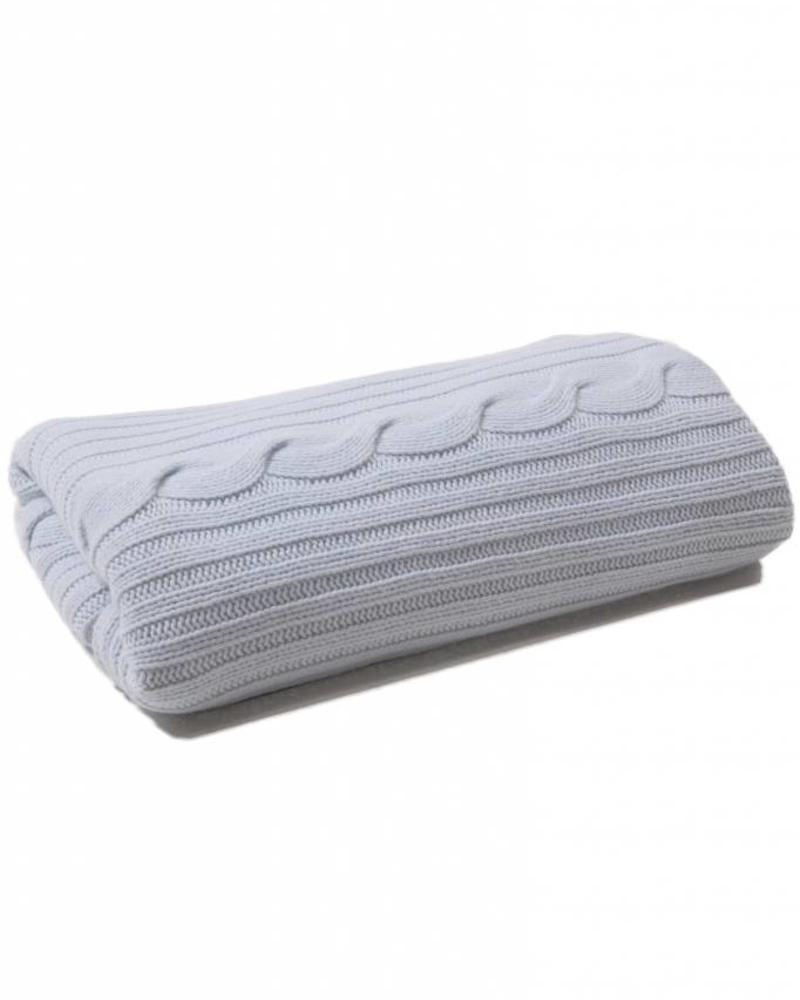 """CASHMERE ROMA CABLE KNIT THROW: 50"""" X 72"""": LIGHT BLUE"""