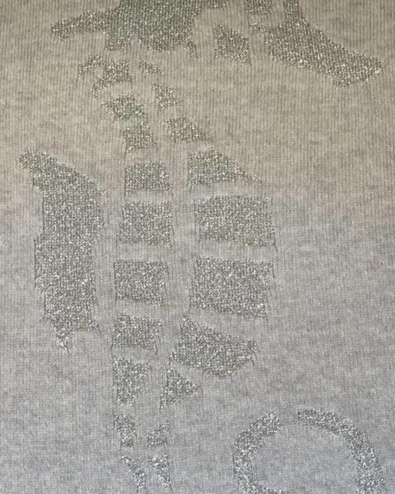 """SEAHORSE CASHMERE-LUREX PILLOW: 21"""" X 21"""": PEARL-RIGHT"""