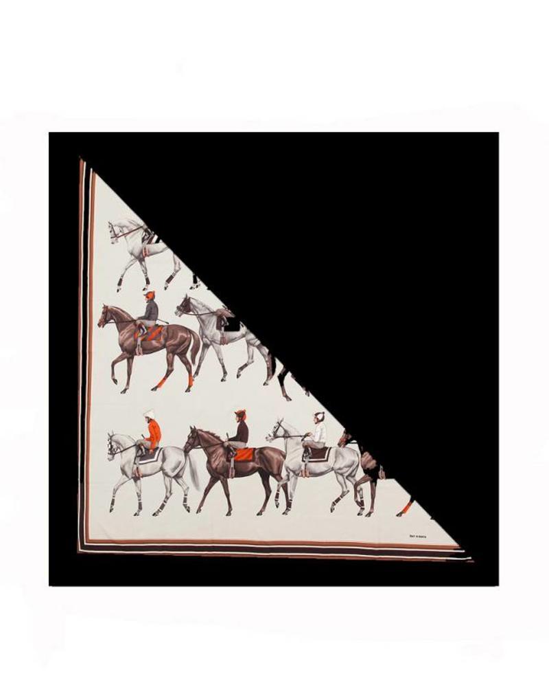 POLO GRAY SILK PRINTED TRIANGLE - BLACK CASHMERE SCARF
