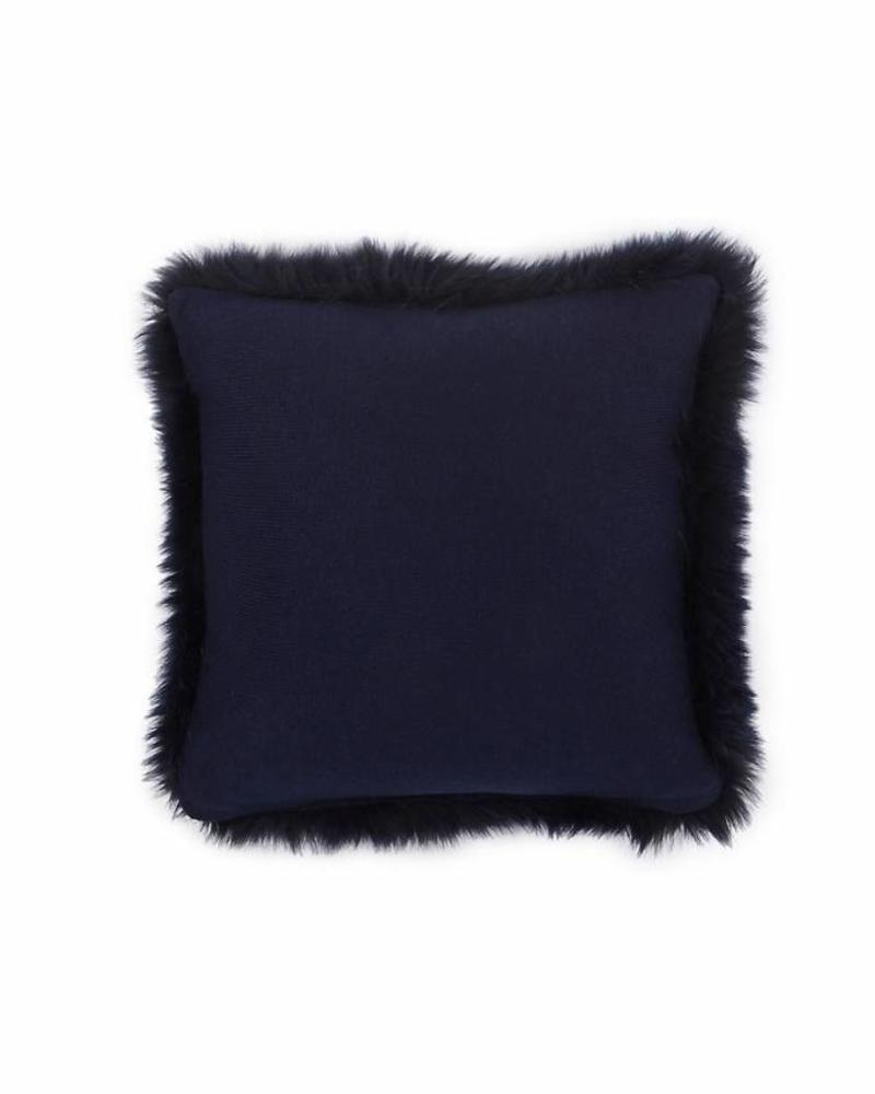 "CASHMERE PILLOW WITH FUR: 17"" X 17"": NAVY"