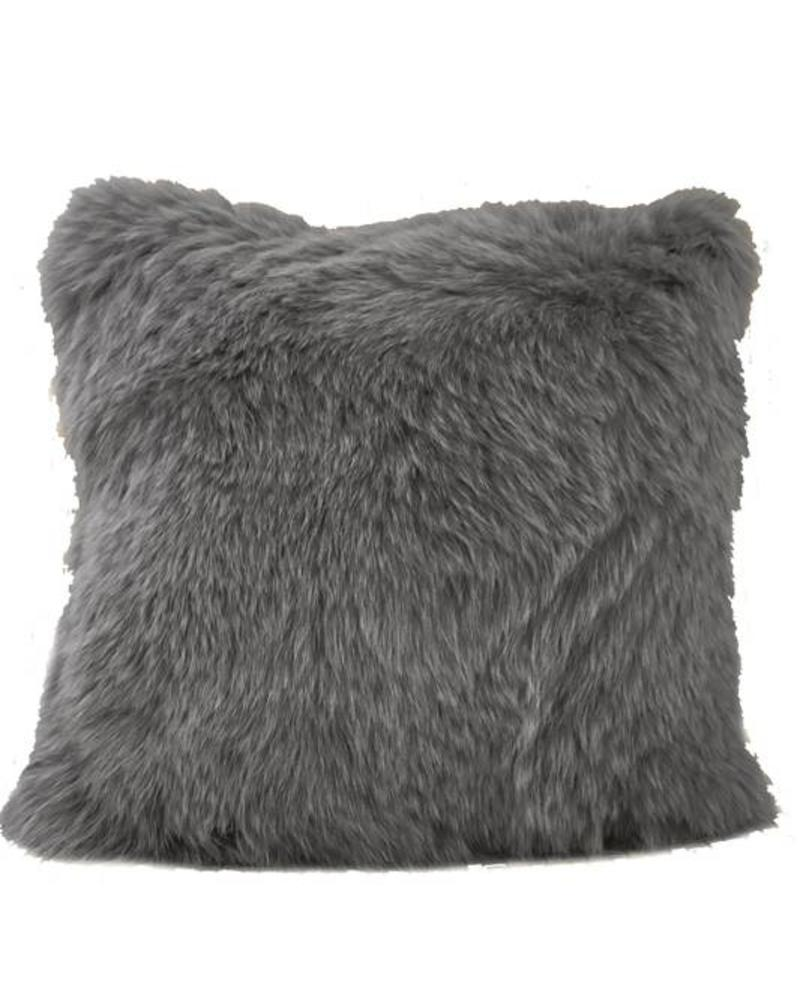 """CASHMERE PILLOW WITH FUR: 17"""" X 17"""": ANTHRACITE"""