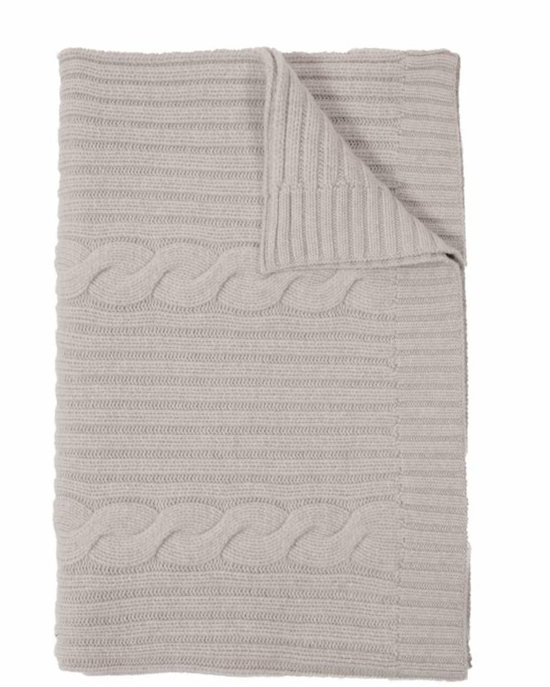 """CASHMERE ROMA CABLE KNIT THROW: 50"""" X 72"""": PEARL GRAY"""