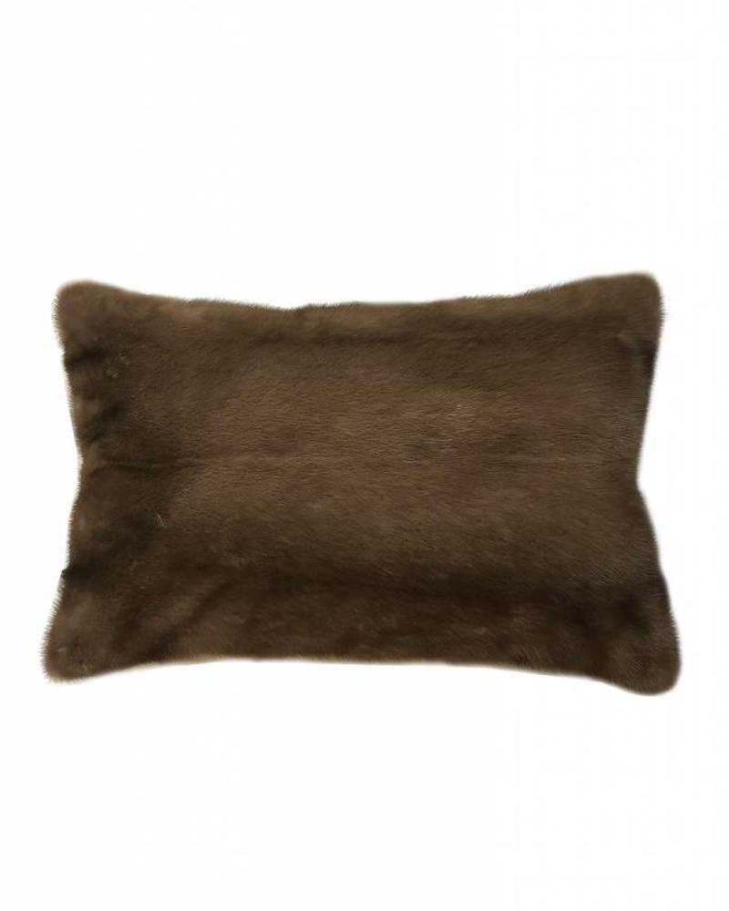 "VENEZIA MINK PILLOW: 12"" X 18"": BROWN"