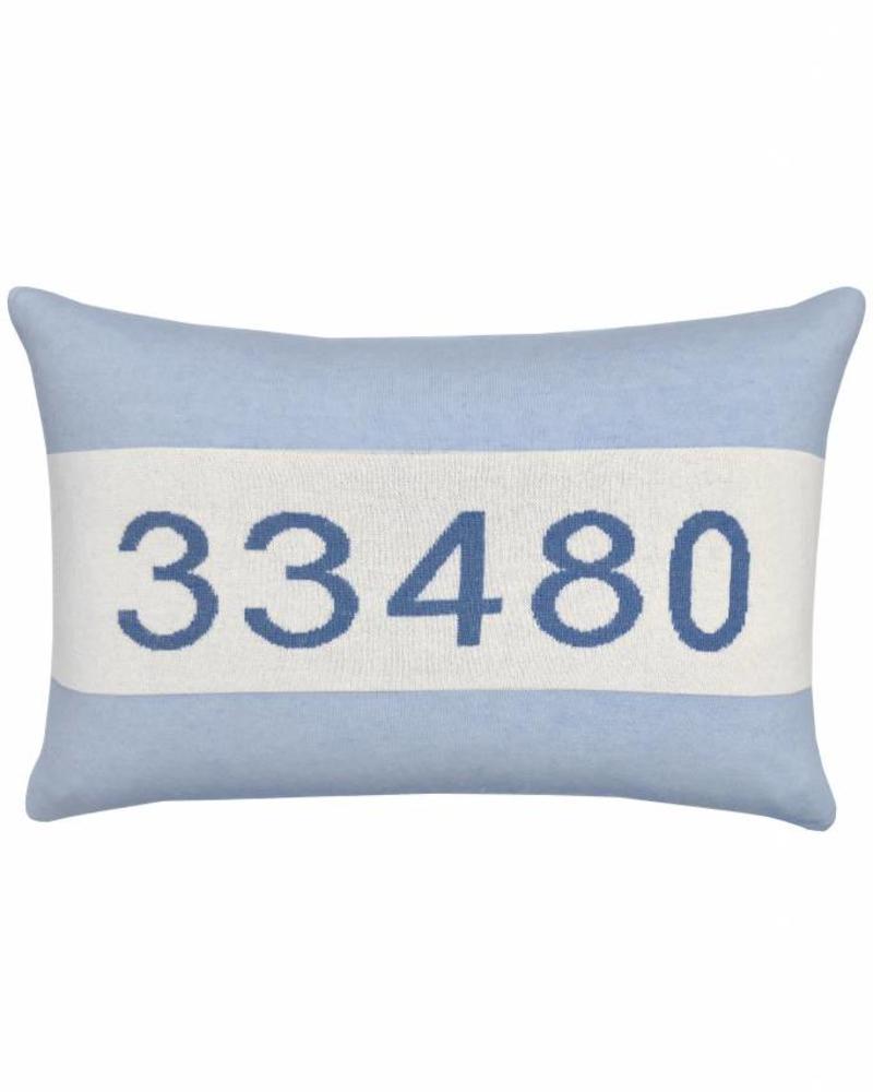 """CASHMERE PALM BEACH PILLOW: 16"""" X 24"""": LIGHT BLUE"""