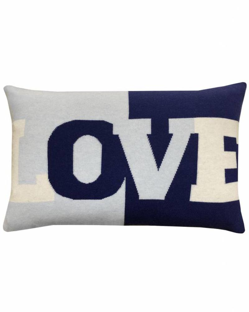 "LOVE PILLOW: CASHMERE BLEND: 16"" X 24"": NAVY-LIGHT BLUE"