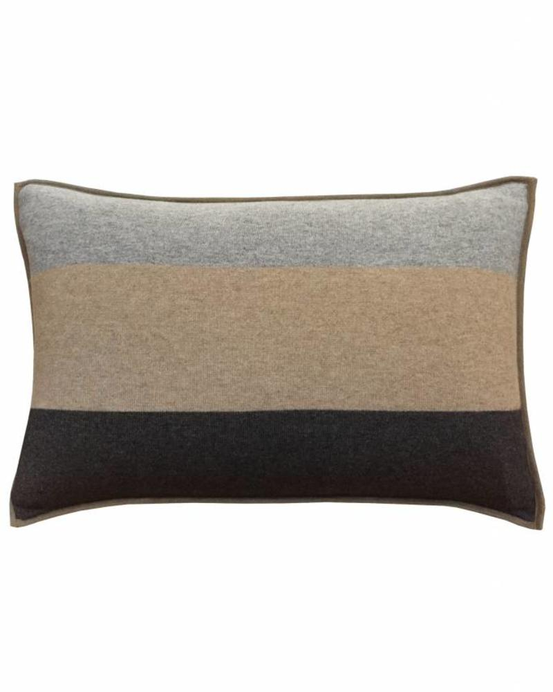 "CASHMERE STANFORD PILLOW: 16"" X 24"": BEIGE-GRAY"